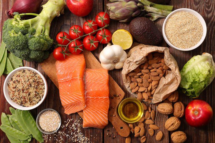 Ilustrasi makanan sehat pereda stres, cara mengatasi stres dengan makanan sehat.