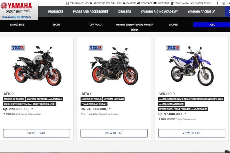 Laman Yamaha Indonesia kanal CBU yang kini hanya menampilkan tiga model.
