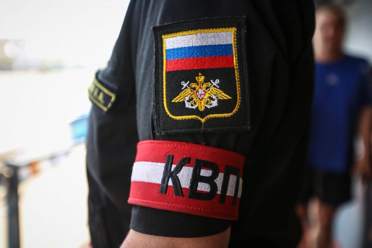 The Russian flag logo on the uniform of the Russian warship crew at Tanjung Priok Port, North Jakarta, Monday, April 30, 2018.