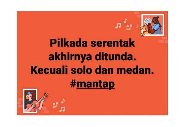 Status Facebook soal ditundanya penyelenggaran Pilkada serentak, kecuali Solo dan Medan.