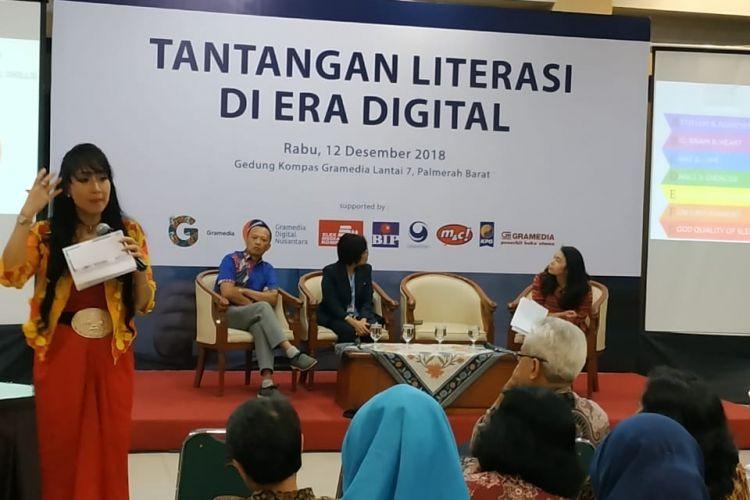 Kompas Gramedia menggelar seminar bertajuk Tantangan Literasi di Era Digital, di Gedung Kompas Gramedia, Jakarta, 12 Desember 2018.