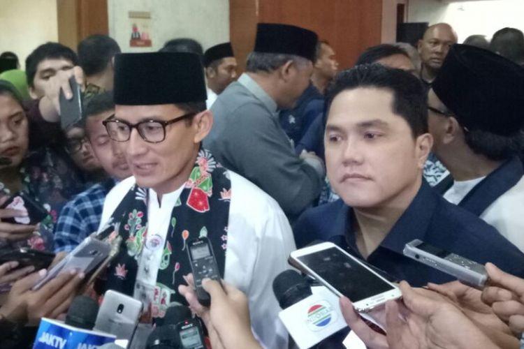 Wakil Gubernur DKI Jakarta Sandiaga Uno dan Ketua Inasgoc Erick Thohir