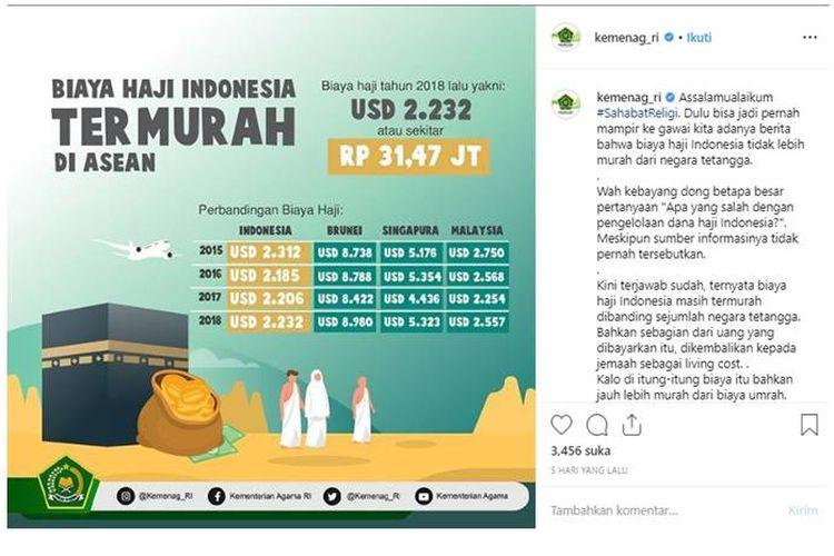 Kementerian Agama (Kemenag) RI menginformasikan bahwa biaya haji Indonesia termurah di ASEAN pada Kamis (31/1/2019).