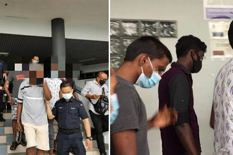 Polisi di Melaka, Malaysia, ketika membawa pria 51 tahun dan tiga anaknya yang dituduh memperkosa dan menyodomi gadis 18 tahun sepanjang 2020 hingga 2021.