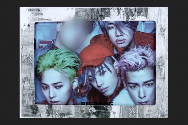Salah satu merchandise BIGBANG yang memburamkan wajah Seungri, mantan member boyband bentukan YG Entertainment itu.