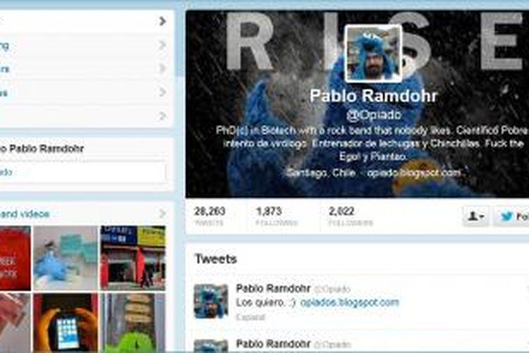 Tampilan terakhir akun Twitter Pablo Ramdohr, tertanggal Minggu (13/10/2013), yang mengarahkan ke blog pribadinya. Di blog tersebut, dia jelaskan bahwa kicauan di Twitter itu telah diprogram, dan dia sudah melakukan bunuh diri, lengkap dengan cara dia bunuh diri.