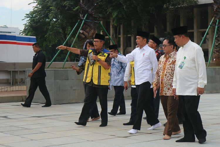 Presiden Joko Widodo meninjau renovasi Masjid Istiqlal