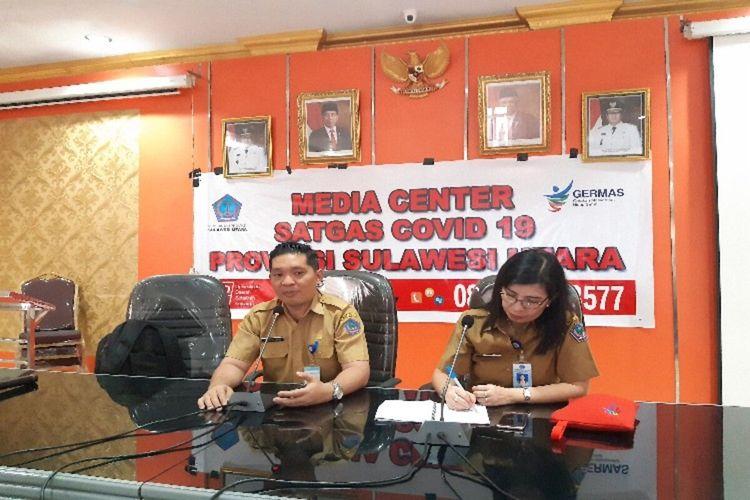 Satgas Covid-19 Sulawesi Utara saat memberikan penjelasan di Kantor Dinas Kesehatan Daerah Sulut, Selasa (17/3/2020) pukul 11.52 WITA