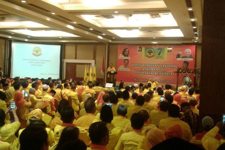 Ketua Dewan Pembina Hutomo Mandala Putra alias Tommy Soeharto saat membuka Rapimnas III DPP Partai Berkarya di Lorin Hotel Solo, Jawa Tengah, Sabtu (10/3/2018).