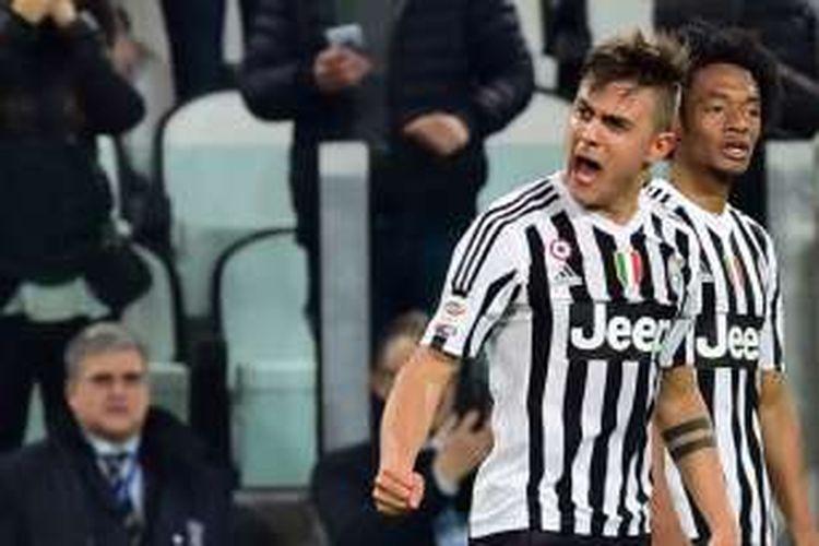 Ekspresi penyerang Juventus, Paulo Dybala, usai membobol gawang Sassuolo, Jumat (11/3/2016).
