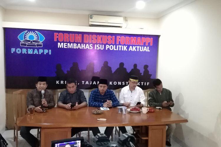 Forum Diskusi Formappi Membahas Isu Politik Aktual, di kantor Formappi, Jakarta, Jumat (24/1/2020).