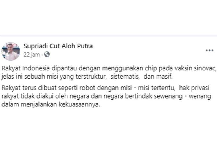 Tangkana layar unggahan hoaks bahwa vaksin Sinovac yang digunakan di Indonesia telah dipasangi chip.