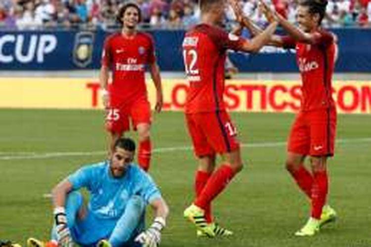 Thomas Meunier merayakan gol PSG ke gawang Real Madrid pada International Champions Cup 2016, Rabu (27/7/2016) atau Kamis pagi WIB.