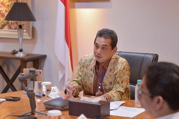 Menteri Perdagangan Agus Suparmanto dalam konferensi pers secara daring di Kantor Kementerian Perdagangan di Jakarta, Rabu (18/3/2020)