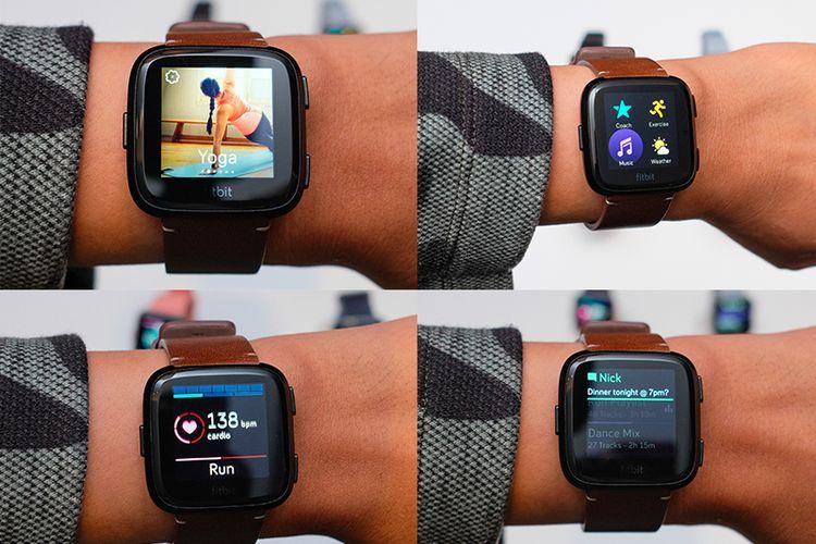 Fitbit Versa menunjang berbagai fitur, mulai dari panduan Yoga, musik, pencatat jarak tempuh saat berlari, serta notifikasi dari smartphone