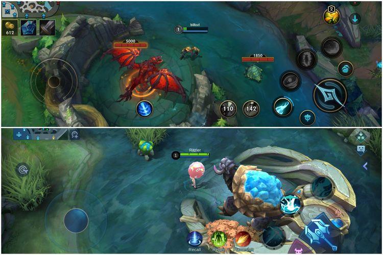 Pemain Wild Rift bisa menggunakan 2 battle spell, sementara Mobile Legends hanya 1 (cuma battle spell bernama Flameshot). DI gambar juga terlihat ada Red Drake (atas) Wild Rift dan Turtle (bawah) Mobile Legends.