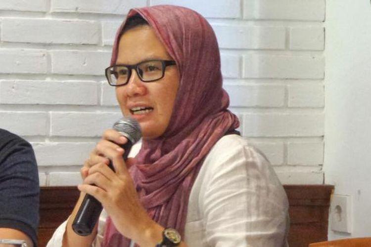 Koordinator Kontras Yati Andriyani dalam sebuah diskusi terkait penerapan hukuman mati, di kawasan Cikini, Jakarta Pusat, Minggu (26/2/2017).