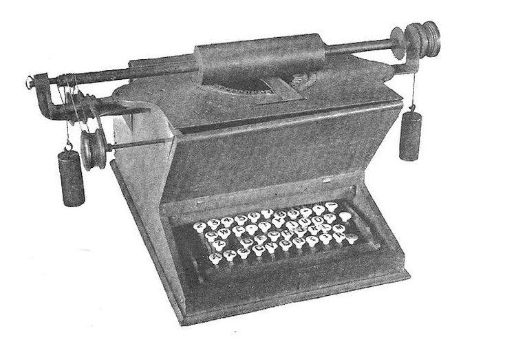 Prototip mesin tik dengan layout QWE.TY.