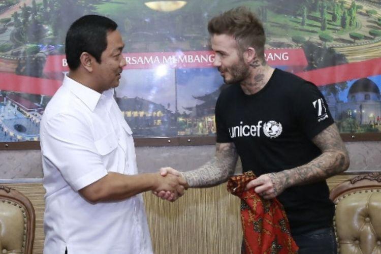 Wali Kota Semarang Hendrar Prihadi bersama Duta Kehormatan Unicef David Beckham, Rabu (28/3/2018)