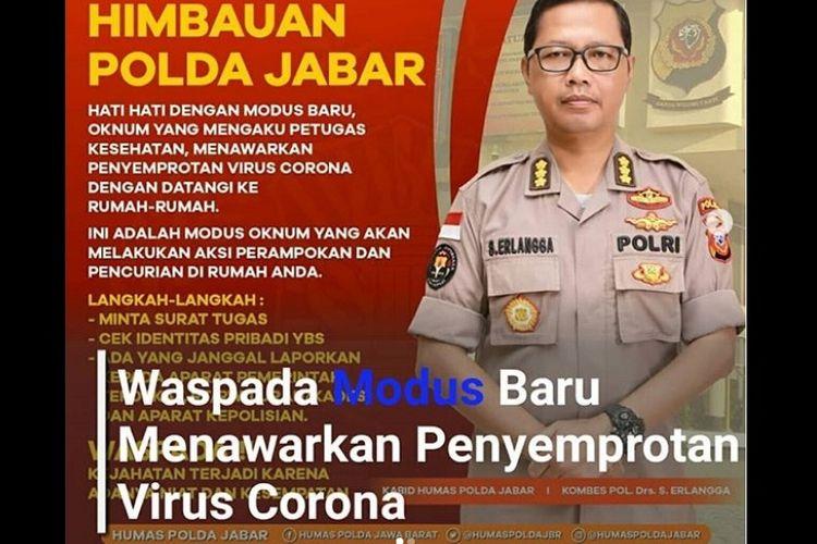 Imbauan Polda Jabar soal perampokan rumah bermodus semprot disinfektan virus corona.