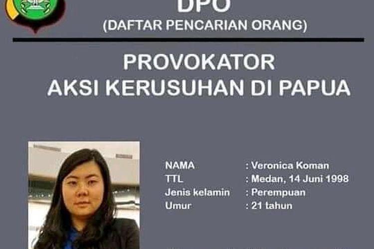 Beredar sebuah poster yang menampilkan foto Veronica Koman masuk dalam daftar pencarian orang (DPO) provokator aksi kerusuhan Papua. Poster itu tersebar melalui aplikasi pengirim pesan WhatsApp.