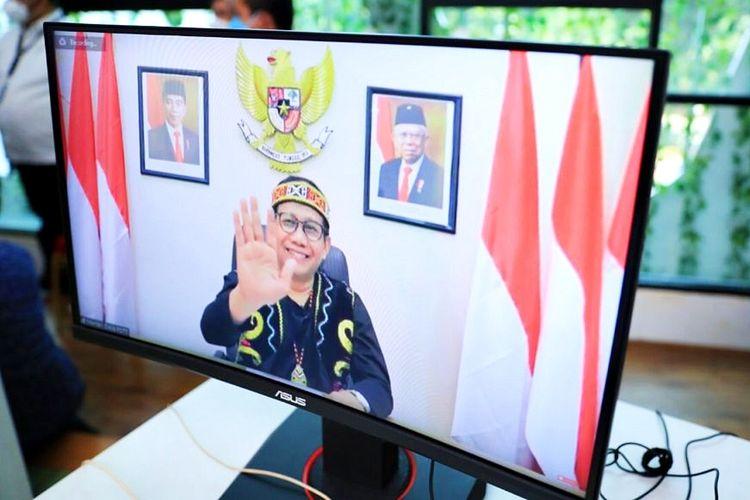 Menteri Desa, Pembangunan Daerah Tertinggal dan Transmigrasi (Menteri Desa PDTT) Abdul Halim Iskandar saat meluncurkan Gerakan Nasional Bangga Buatan Indonesia (Gernas BBI) Kalimantan Timur (Kaltim) bertemakan Go Borneo secara virtual, Rabu (1/9/2021).