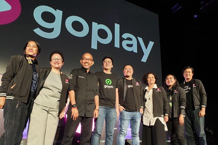 Foto peluncuran platform GoPlay di kantor GoJek di Jakarta, Kamis (26/9/2019). Ket. foto: Co-Founder GoJek, Kevin Aluwi, (tengah kiri), CEO GoPlay, Edy Sulistyo (tengah kanan).
