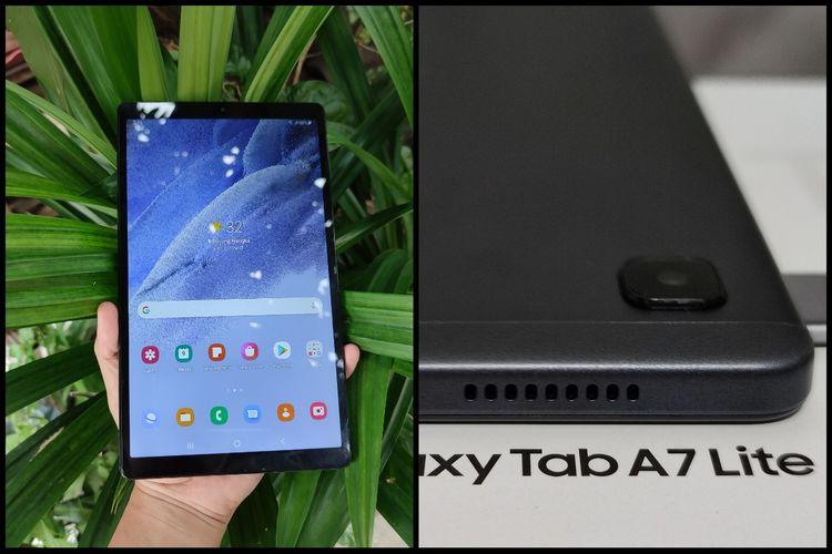 Galaxy Tab A7 Lite dibekali dengan desain tipis dan ringan. Meski memiliki layar hampir 9 inci, tablat ini masih bisa digenggam dengan satu tangan.