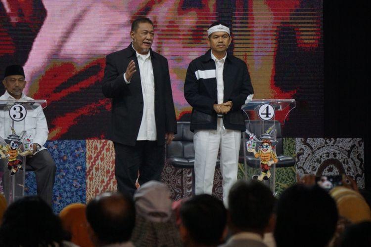 Pasangan calon gubernur-wakil gubernur Jawa Barat, Deddy Mizwar-Dedi Mulyadi dalam debat publik Pilgub Jabar terakhir, Jumat (22/6/2018).