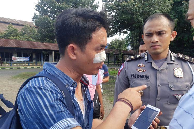 Seorang wartawan menjadi korban pengeroyokan oknum calo di dekat Kantor Satpas SIM Daan Mogot, Jakarta Barat, Rabu (29/1/2020)