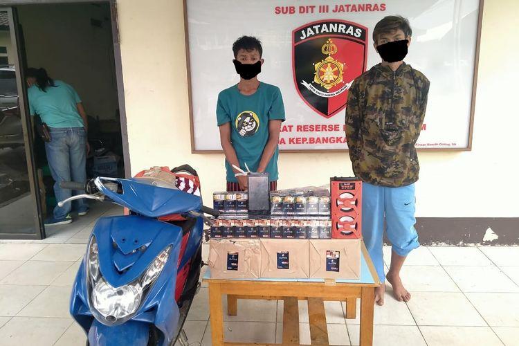 Dua tersangka perampokan gudang rokok diamankan di Mapolda Bangka Belitung, Rabu (24/2/2021).