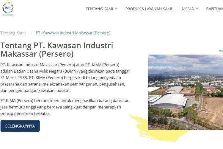 Tampilan layar website PT Kawasan Industri Makassar (Persero).