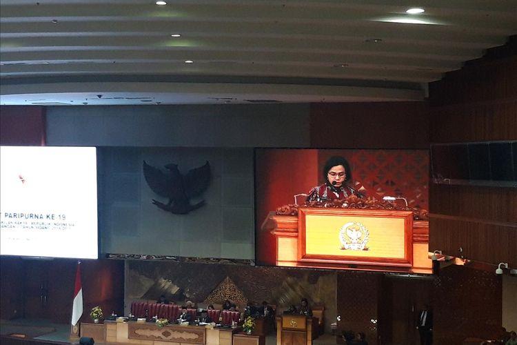 Menteri Keuangan Sri Mulyani Indrawati saat Rapat Paripurna DPR RI di Jakarta, Selasa (11/6/2019).