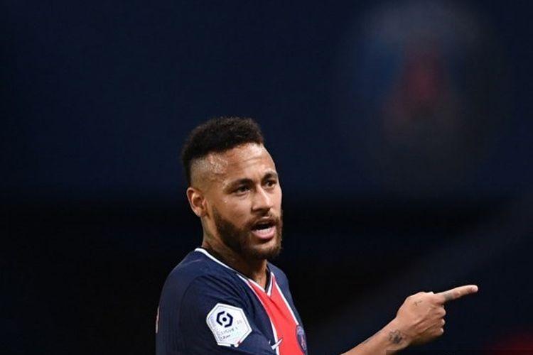 Bintang Paris Saint-Germain, Neymar, pada laga PSG vs Marseille di Liga Perancis, Senin (14/9/2020) dini hari WIB.