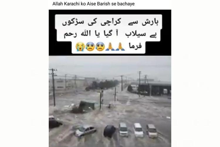 Status Facebook mengunggah video dengan klaim peristiwa banjir di video terjadi di Karachi, Pakistan.