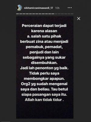 Status Instagram Story Nikita Mirzani berbicara tentang penyebab perceraian, Selasa (17/7/2018).