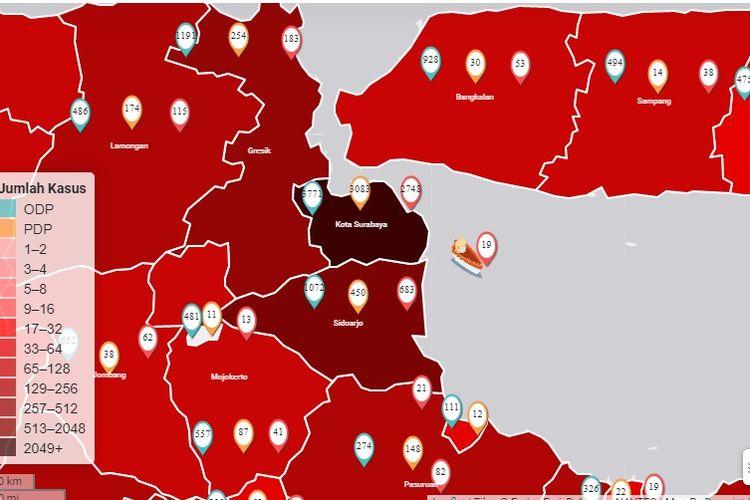 Dalam peta sebaran Covid-19 di Jawa Timur, Kota Surabaya terlihat berwarna hitam sejak empat hari terakhir.
