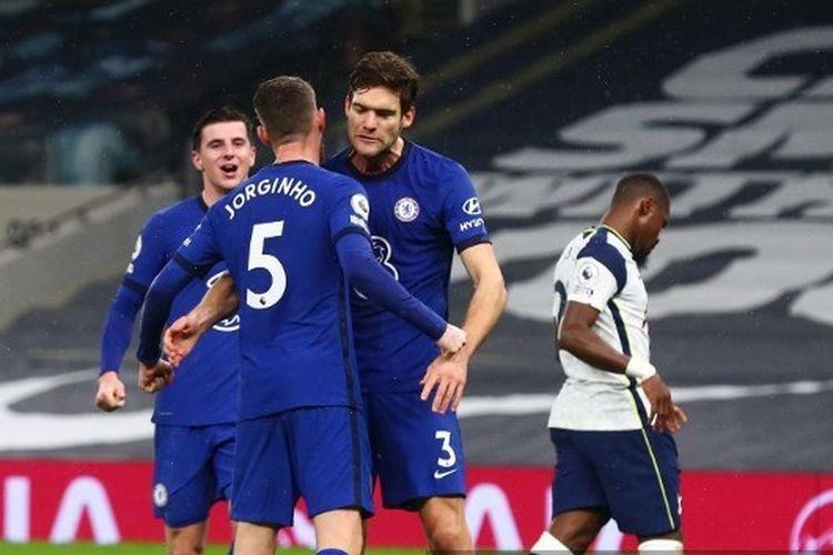 Susana perayaan gol penalti Jorginho pada laga pekan ke-22 Liga Inggris yang mempertemukan Tottenham vs Chelsea di Tottenham Hotspur Stadium, Kamis (4/2/2021).
