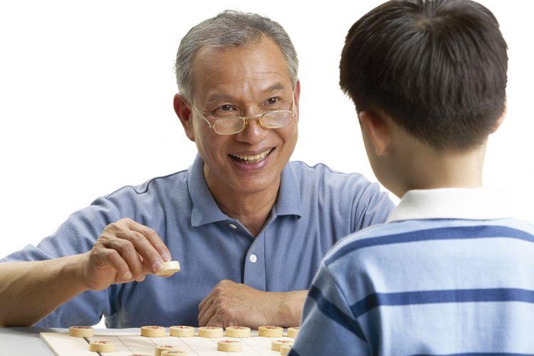 Ilustrasi cucu bermain dengan kakek