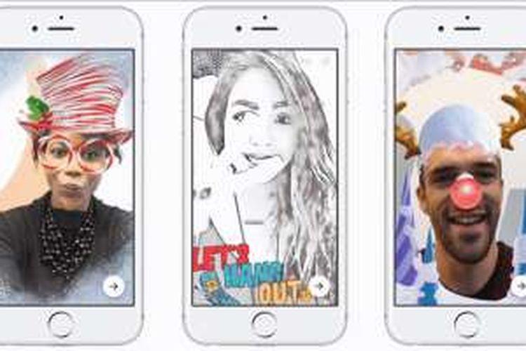 Ilustrasi fitur baru di kamera Facebook Messenger.