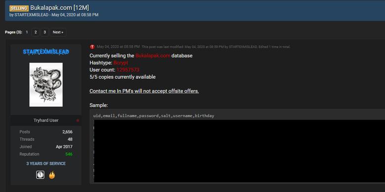 Tangkapan layar forum online hacker Raidforum di mana akun Startexmislead mengklaim menjual 13 juta akun pengguna Bukalapak.
