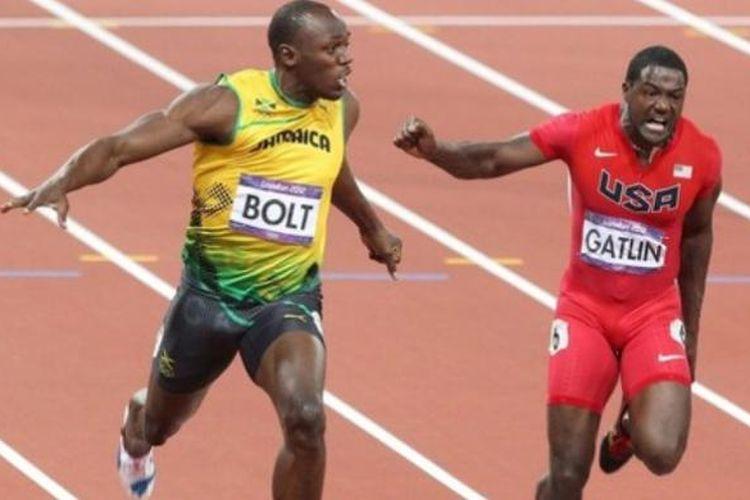 Usain Bolt (kiri) dan Justin Gatlin.
