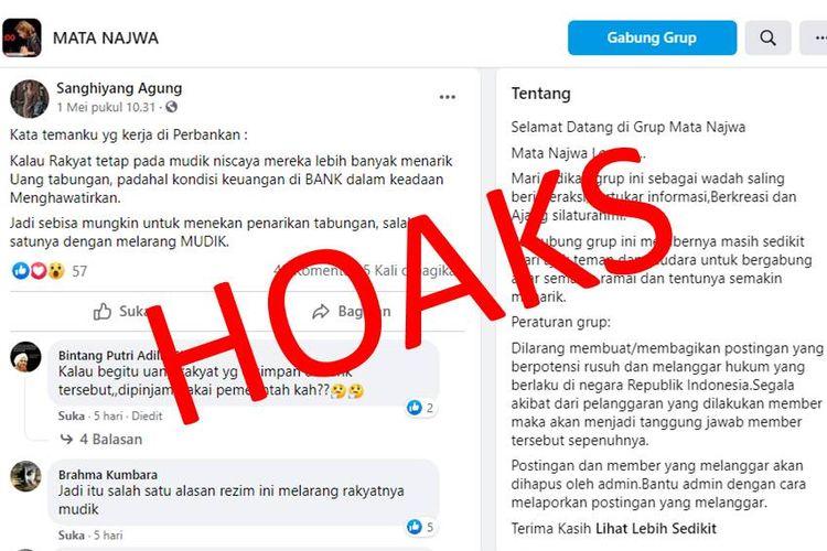 Hoaks larangan mudik dibuat karena kondisi keuangan Indonesia mengkhawatirkan