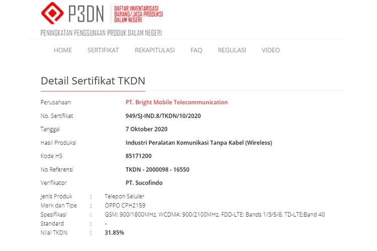 Sertifikasi Oppo Reno5 di situs TKDN Kemenperin