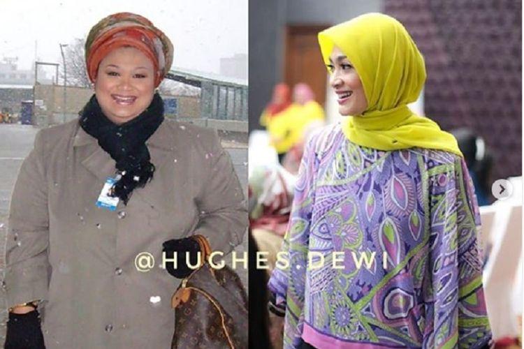 Dewi Hughes dulu vs kini ((Instagram/hughes.dewi))