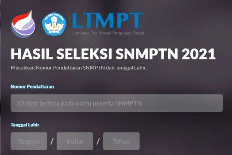 Tampilan pengumuman-snmptn.ltmpt.ac.id dari LTMPT.