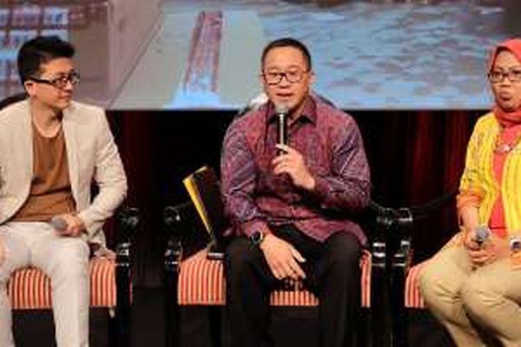 (ki-ka) President Director IBM Indonesia, Gunawan Susanto; CEO Indosat Ooredoo Alexander Rusli; Chief Enterprise and Wholesale Indosat Ooredoo, Herfini Haryono di acara Indosat ICT 2016.