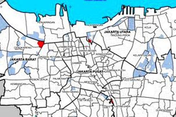 Peta banjir Jakarta 18 Januari 2014 dari BPBD.
