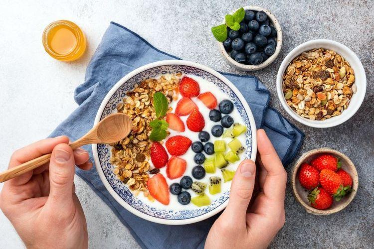 Ilustrasi sajian sarapan pagi.