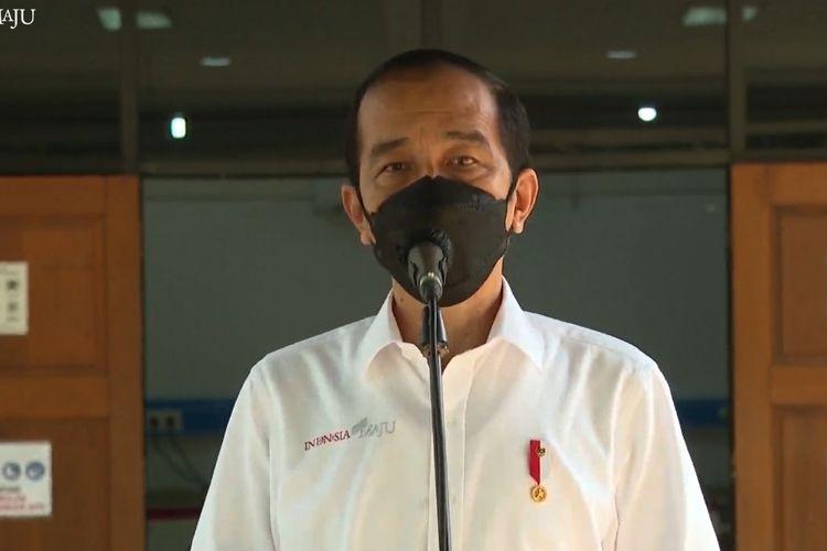 Foto tangkapan layar YouTube Sekretariat Presiden: Presiden Joko Widodo meresmikan Wisma Haji Pondok Gede, Jakarta Timur, sebagai rumah sakit darurat Covid-19, Jumat (9/7/2021).